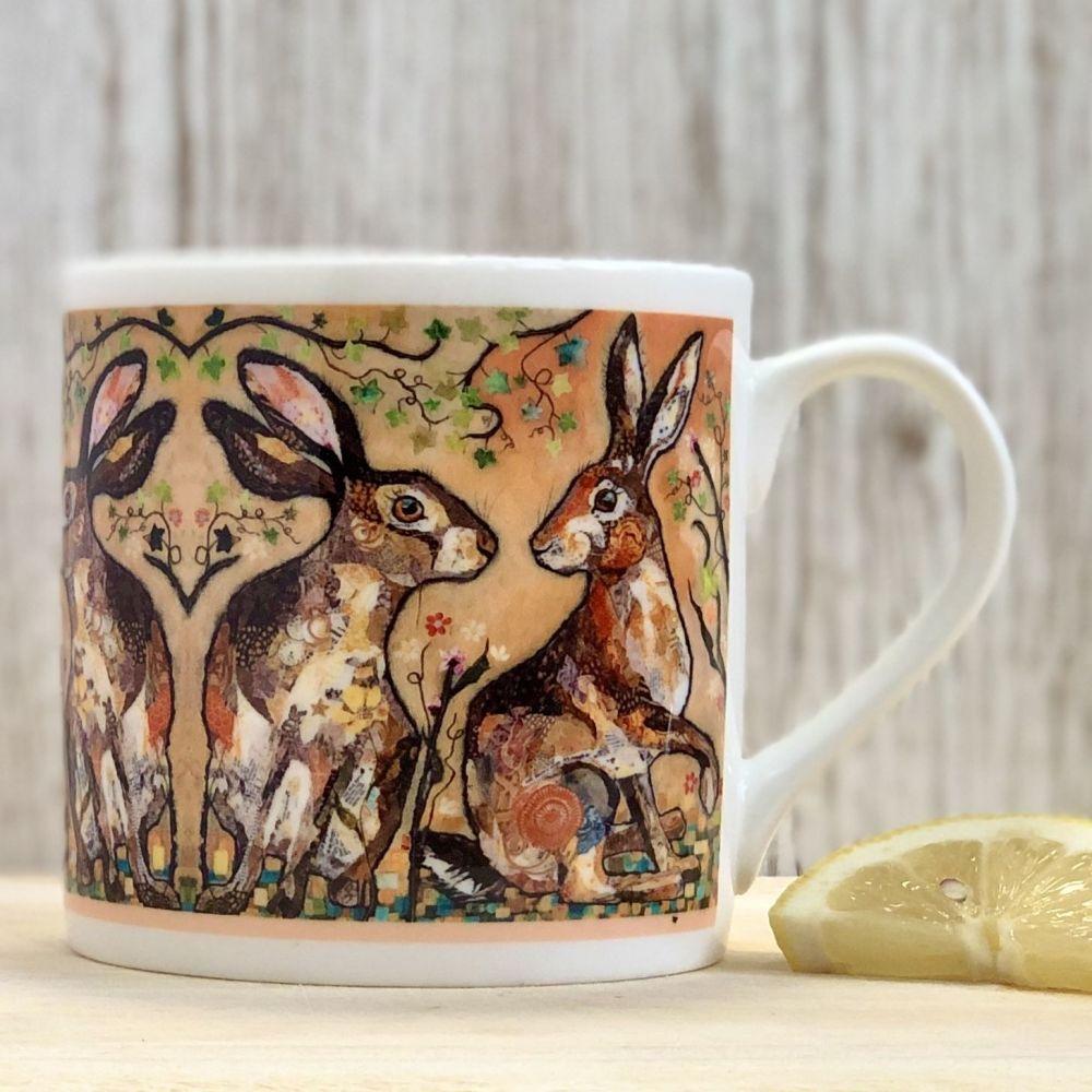 Two Hare's Looking Mug - Fine Bone China