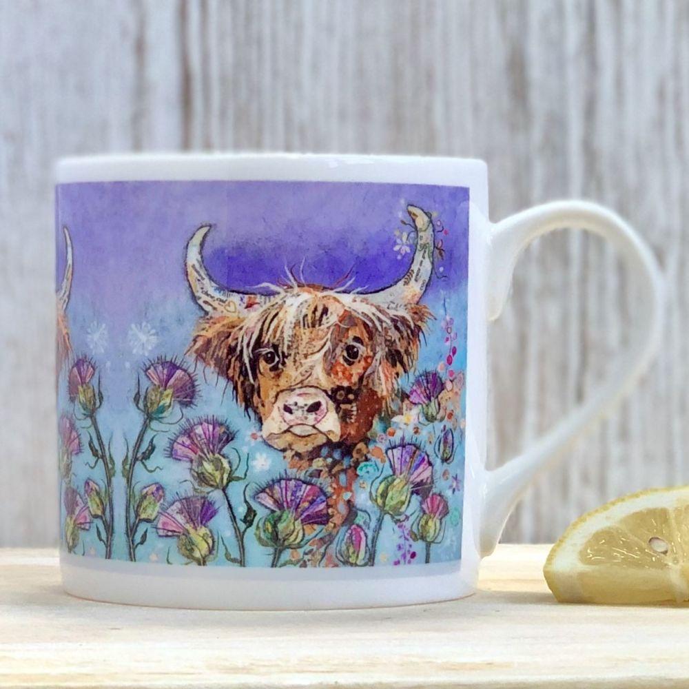 Highland Cow and Thistles Mug