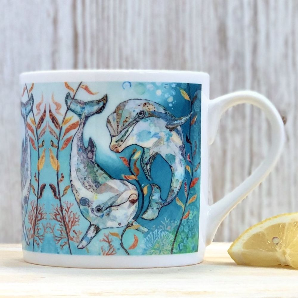 Two Dolphin Friends Mug - Fine Bone China