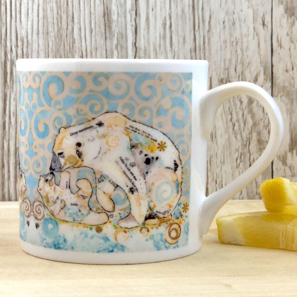 Polar Bear Kissing Cub Mug - Fine Bone China