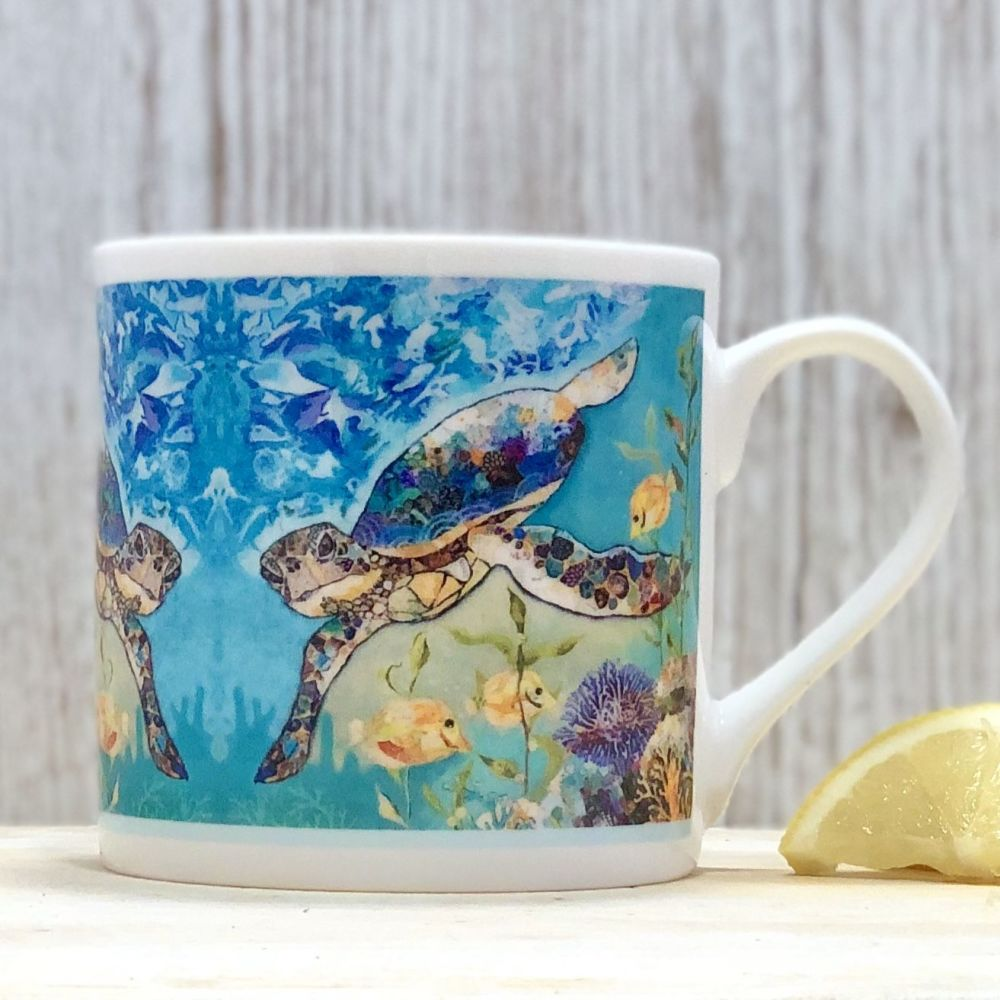 Sea Turtle Underwater Mug - Fine Bone China