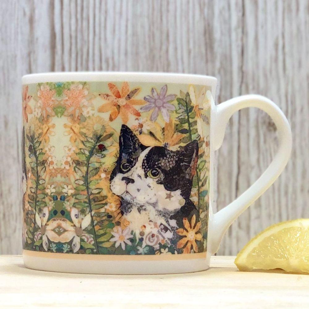 Black Cat and Ladybird in Flowers Mug