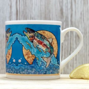 Salmon on Blue Mug