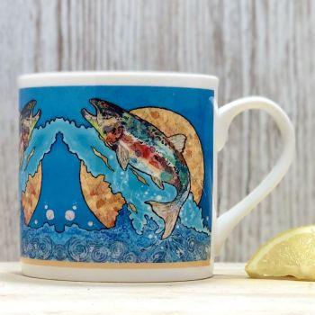 Salmon on Blue Mug