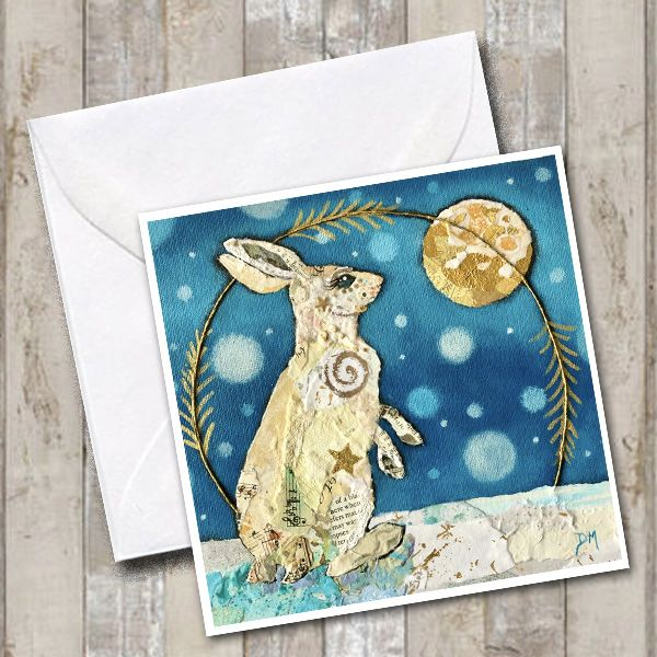 white hare & moon greeting card