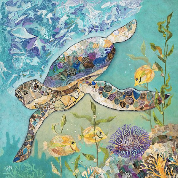 Sea Turtle Original Torn Paper Collage Art
