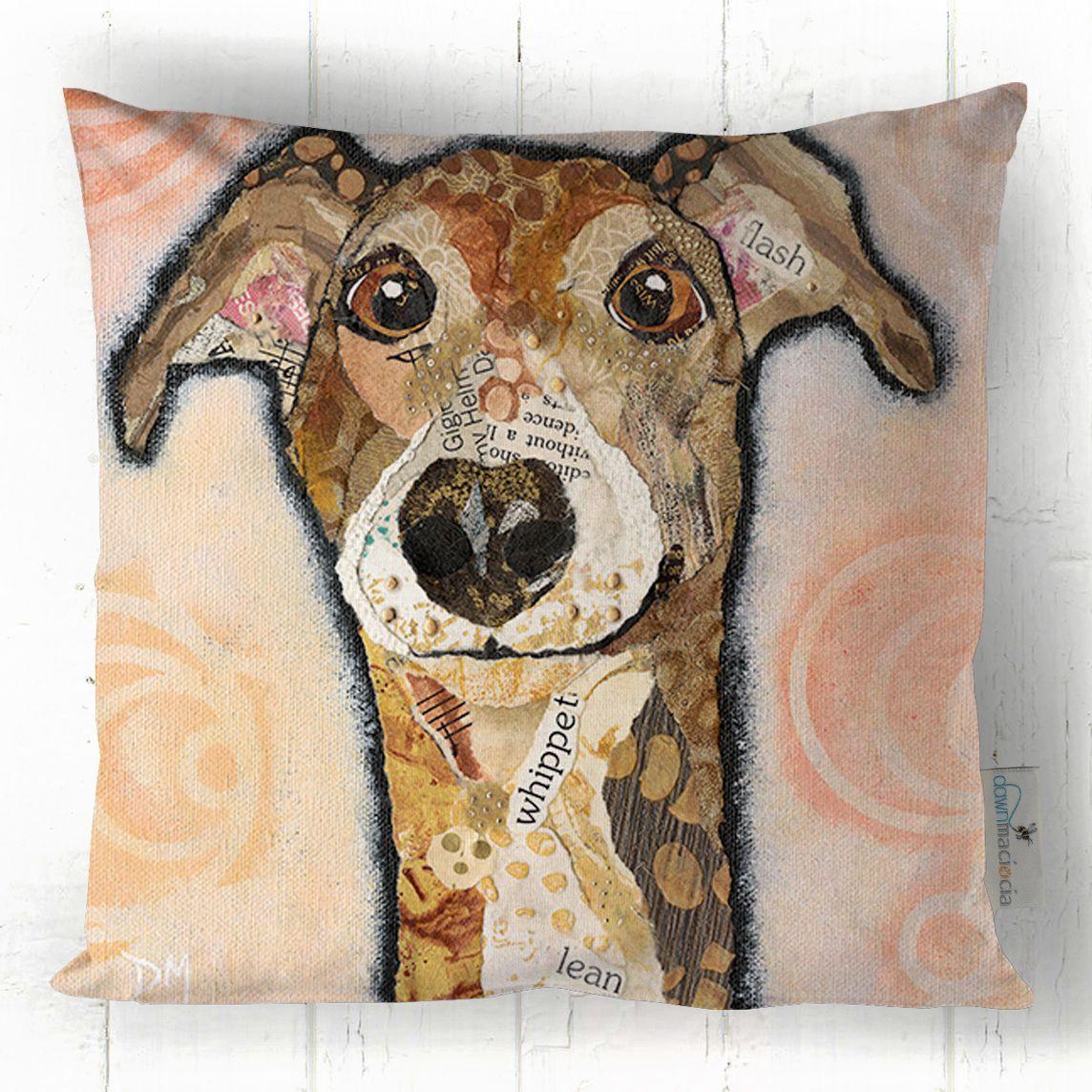 Whippet Hound Cushion Handmade in UK by Dawn Maciocia