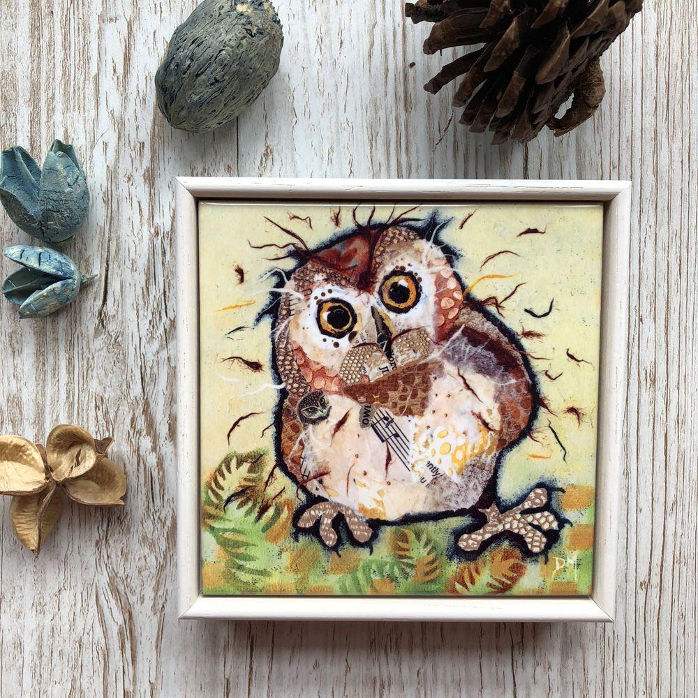 Frame d Owl Art Tile by Dawn Maciocia