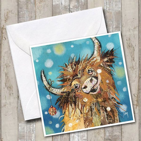 Christmas Highland Cow in Snow Art Greetings Card