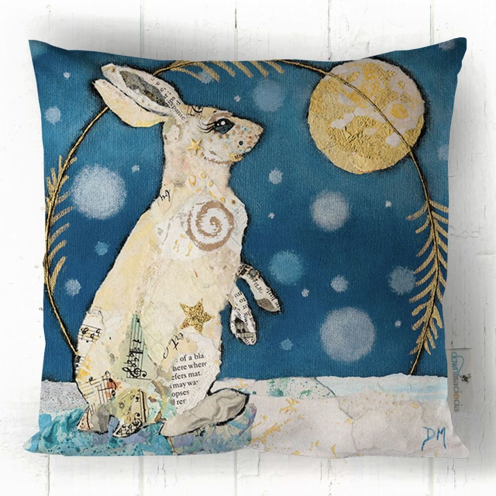 White Hare Looking at Moon Art Cushion