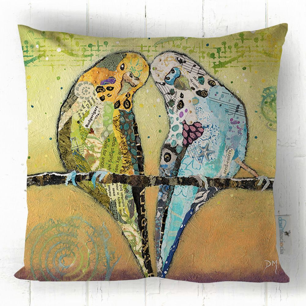 Budgie Friends Art Cushion