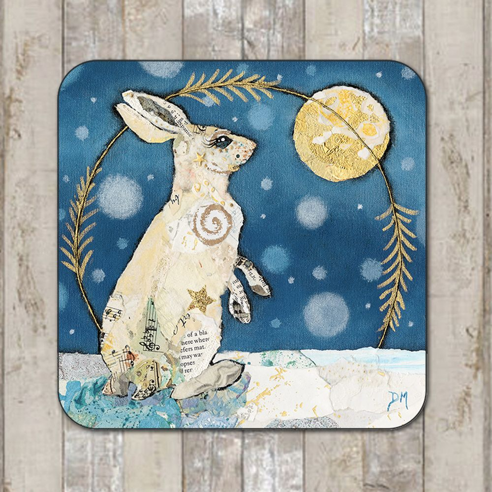 Mountain Hare and Moon Coaster Tablemat Placemat