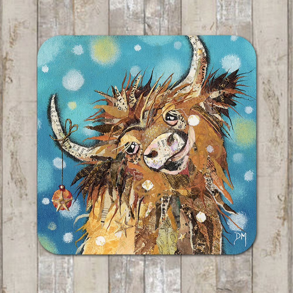 Highland Cow in Snow Coaster Tablemat Placemat