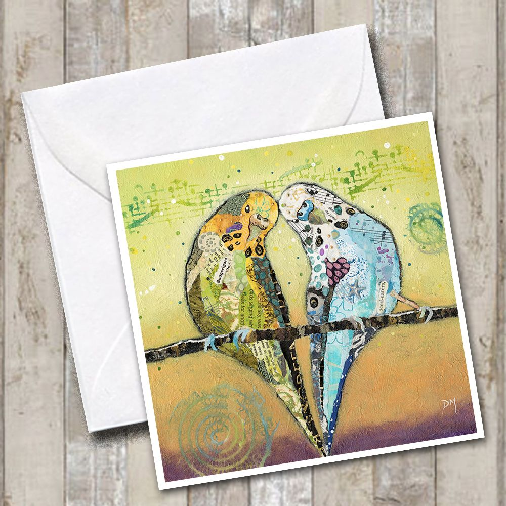 Two Budgies Friends on Yellow Green Background Art Greetings Card