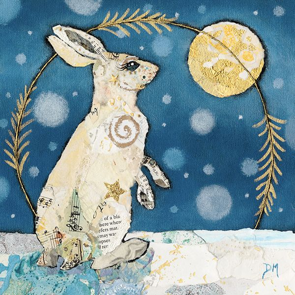 Hare in Snow with Moon - Print