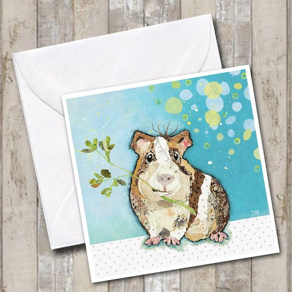Guinea Pig eating Greens on Teal Background Art Greetings Card