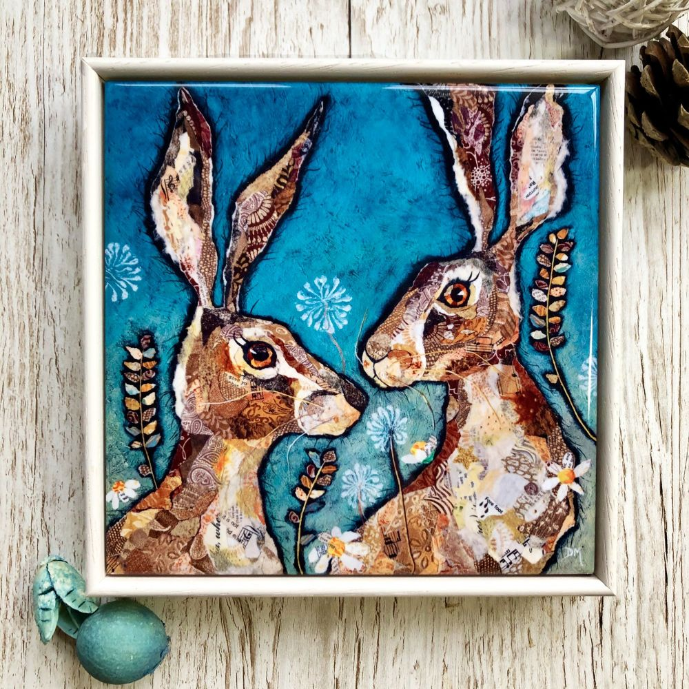 Hare Friends Decorative Art Tile Framed