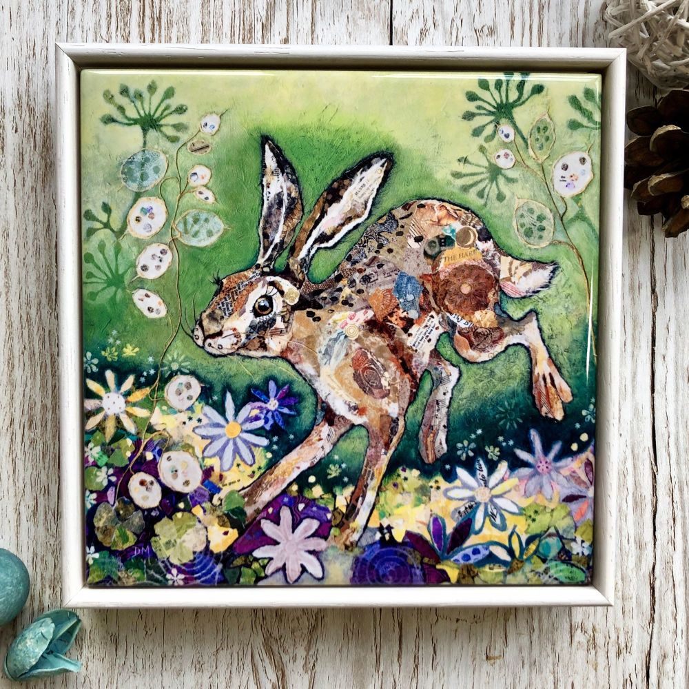 Hare In Meadow Decorative Art Tile Framed