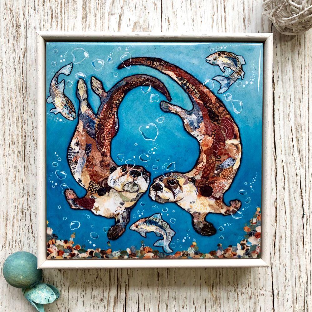 Swimming Otters Decorative Art Tile Framed