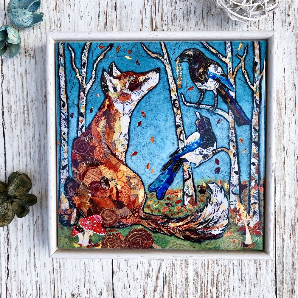 Fox & Magpie Decorative Art Tile Framed