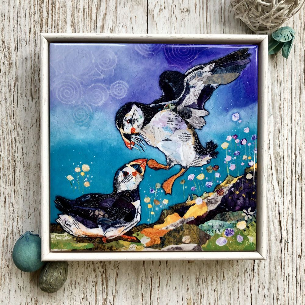 Puffin Decorative Art Tile Framed
