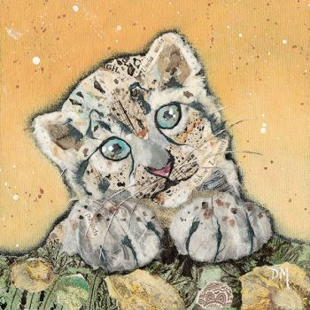 "Snow Leopard Cub 4"" Boxed Tile (SECONDS)"