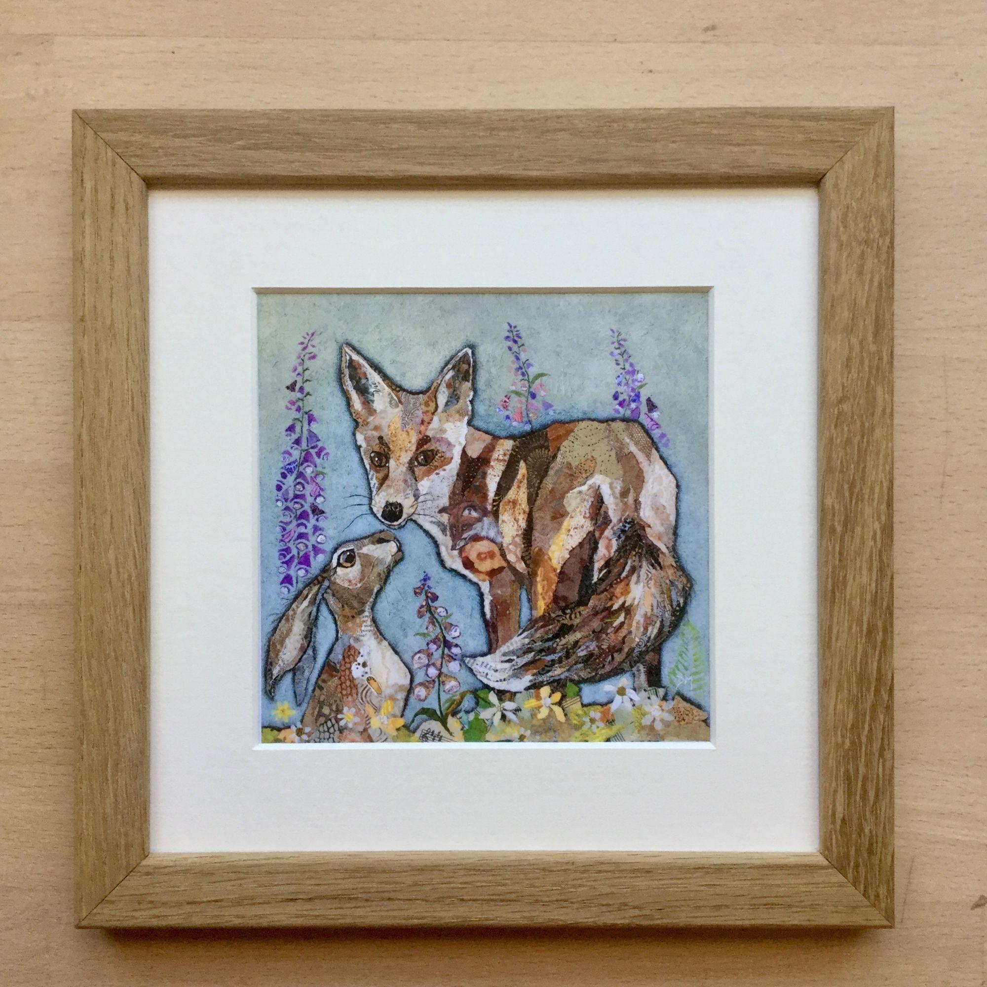 Mini Oak Framed Fox and Hare Art Print