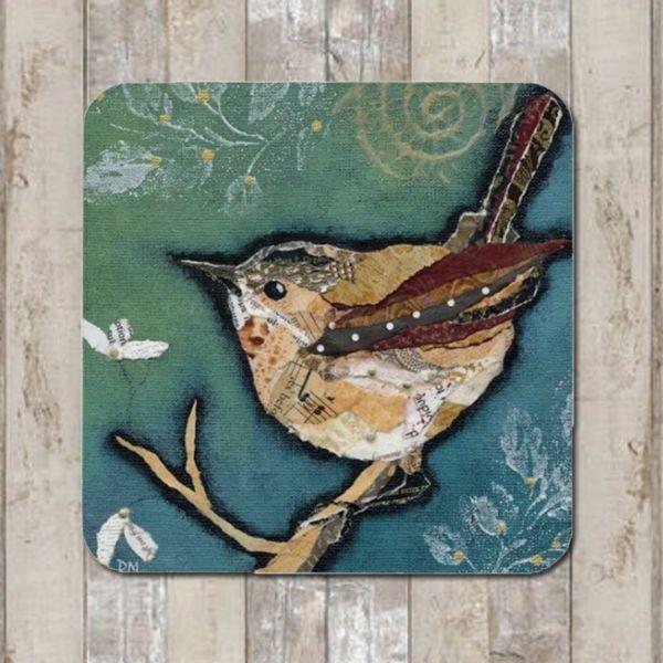 <!-- 002 -->`Wren on Aqua Tablemat (SECONDS)