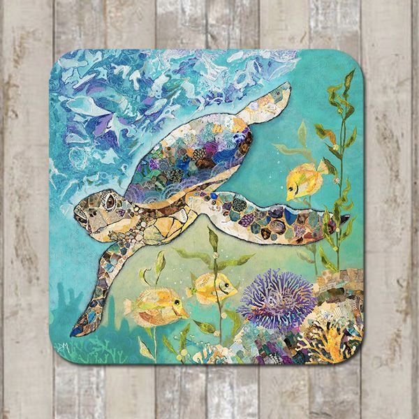 Sea Turtle and Coral Coaster Tablemat Placemat