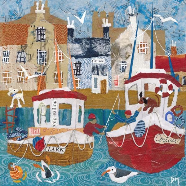 Naive Harbour Scene with Fishing Boats and Seagulls Art Greetings Card