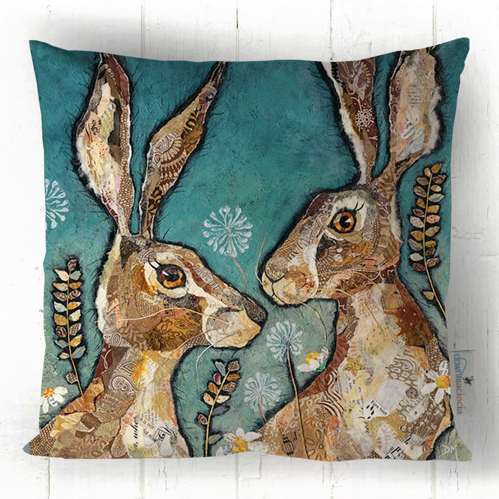 Two Hare Friends Art Cushion