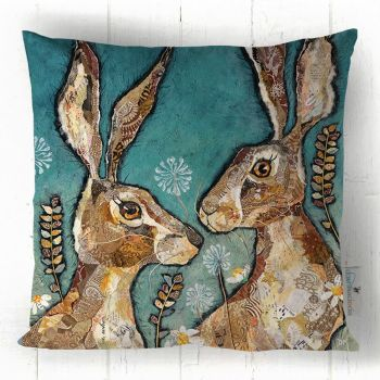 Together - Hare Cushion, Teal & Brown