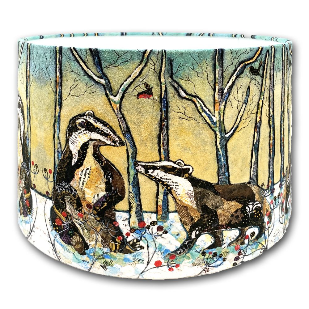 Badgers in Winter - Lampshade - 30cms