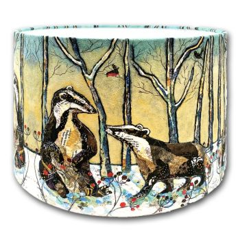 Badgers in Winter - Lampshade