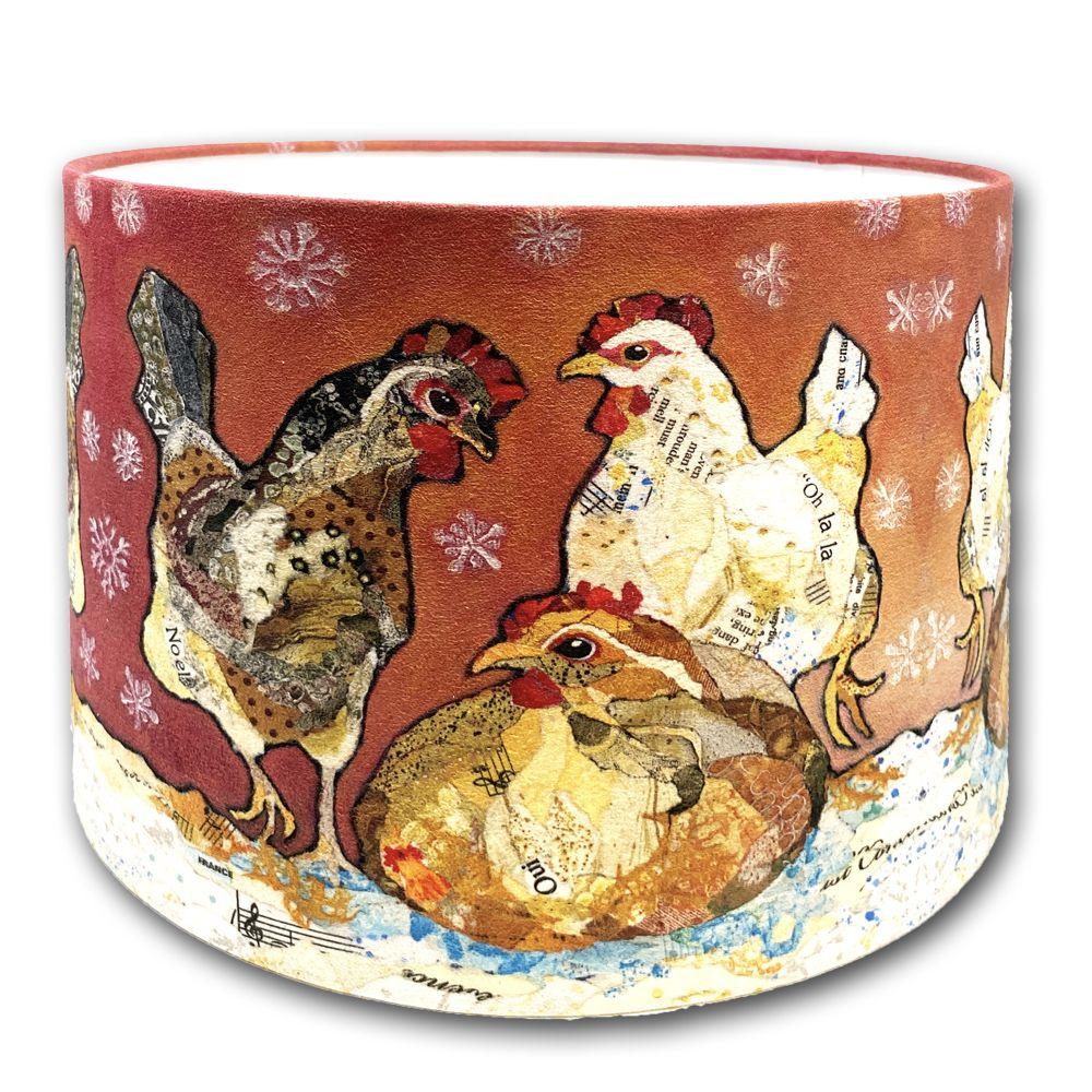 Three Hens- Handmade Drum Lampshade - 30cms