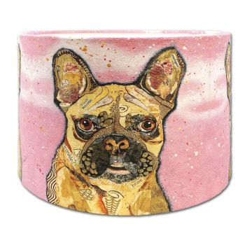 French Bulldog lampshade with pink background