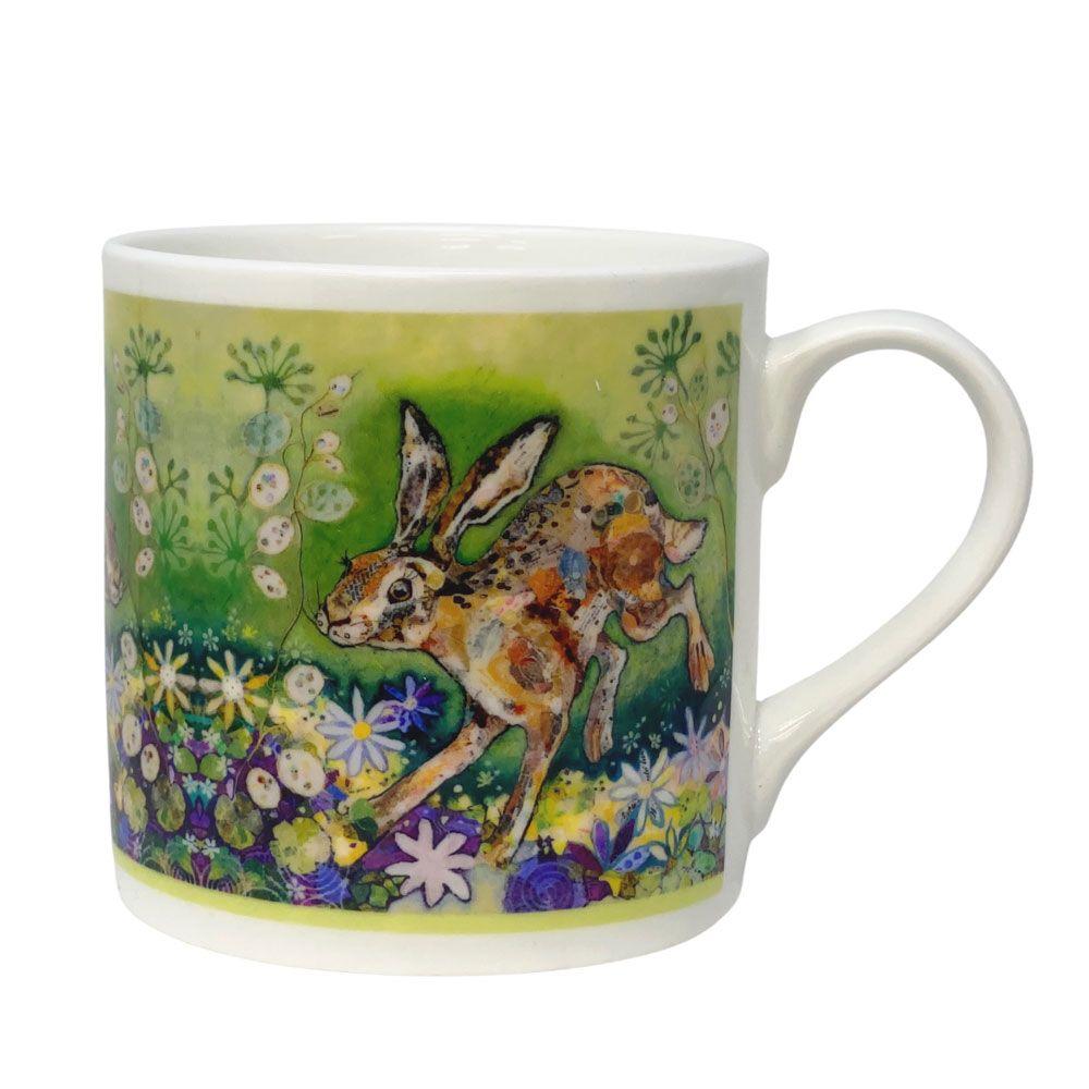 Running Hare in Meadow Mug - Fine Bone China