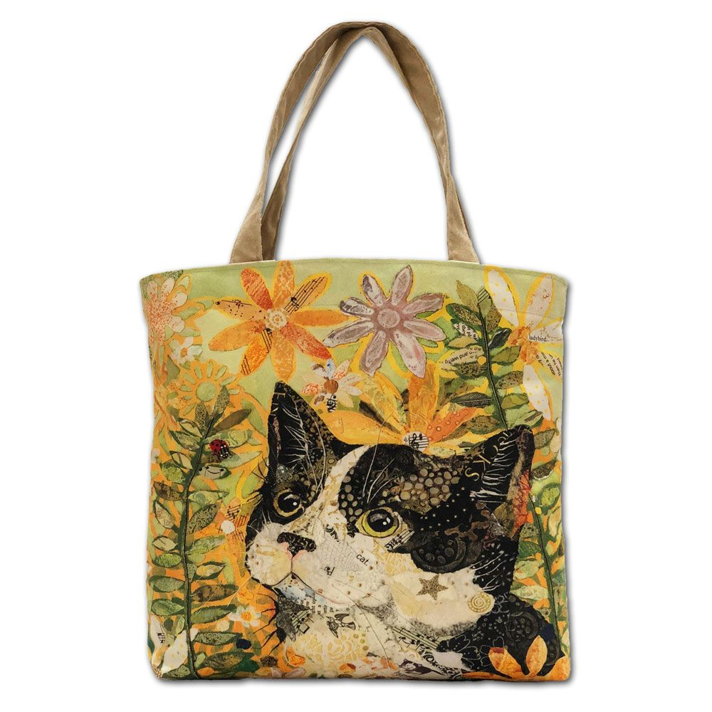 Cat, Flowers &  Ladybird Tote Bag