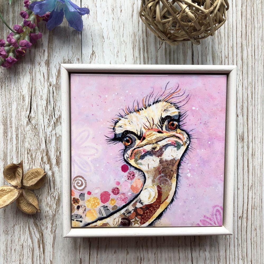 Framed Ostirch Art Tile by Dawn Maciocia