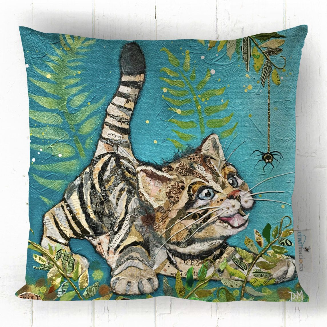 Wild Cat Kttien Cushion Handmade in UK by Dawn Maciocia