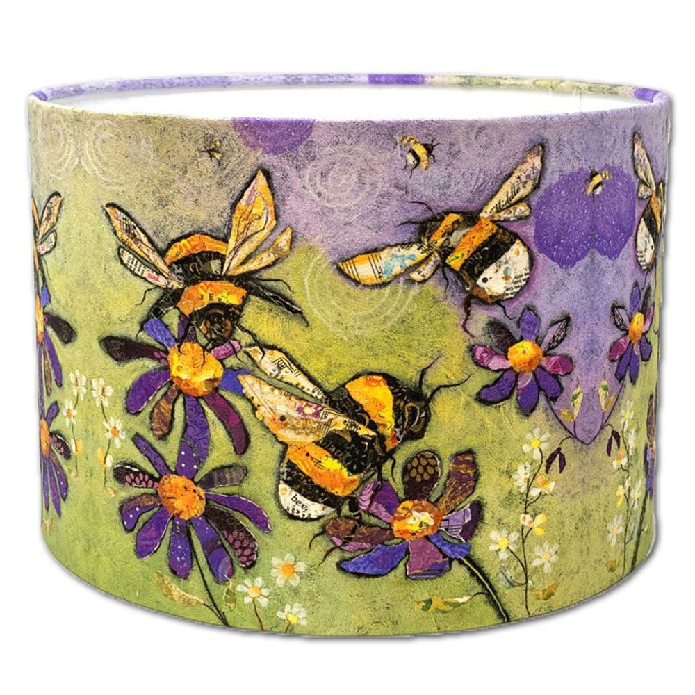 Bumble Bee and Flowers - Drum Lampshade