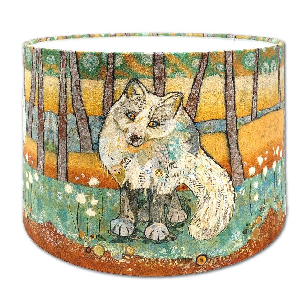 Arctic Fox -  Handmade Drum Lampshade