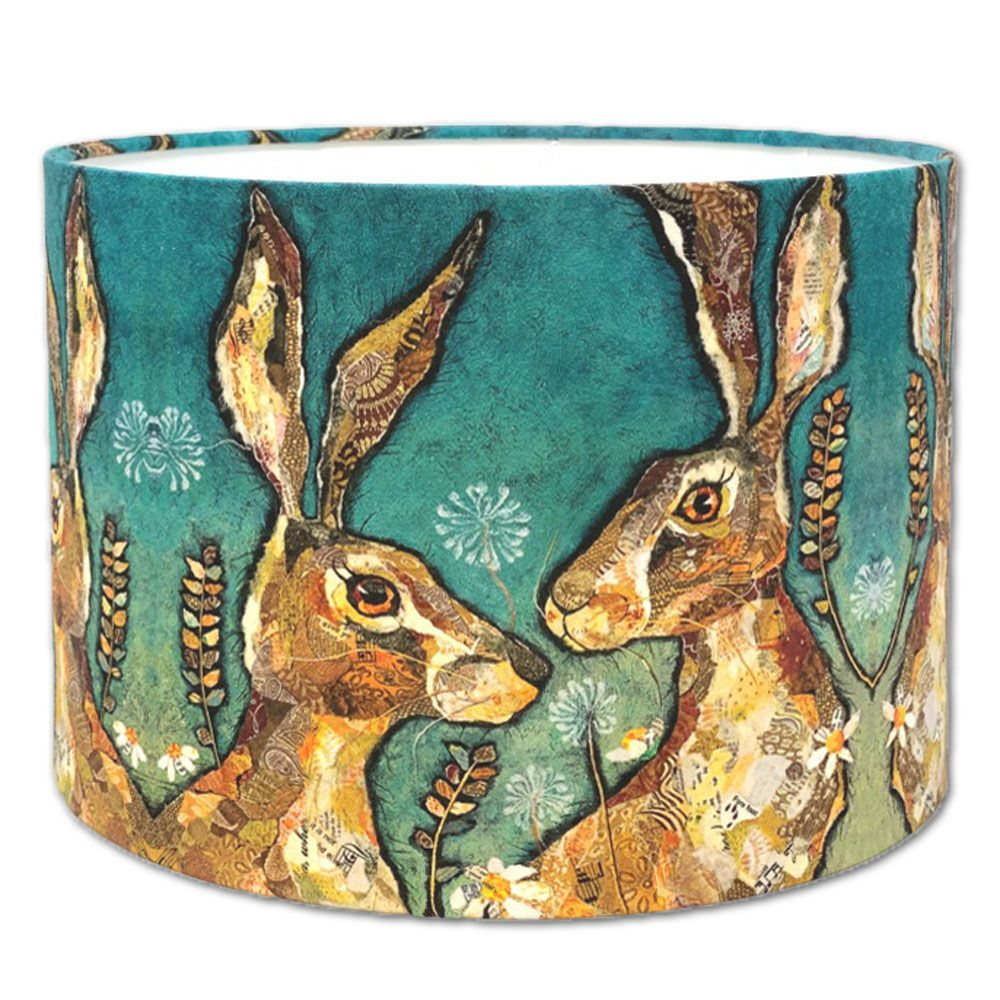 'Together' Hare - Handmade Drum Lampshade 30cms