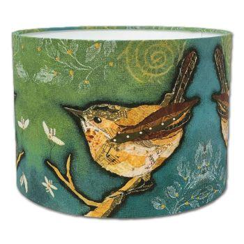 Wren on Aqua- Bird Lampshade
