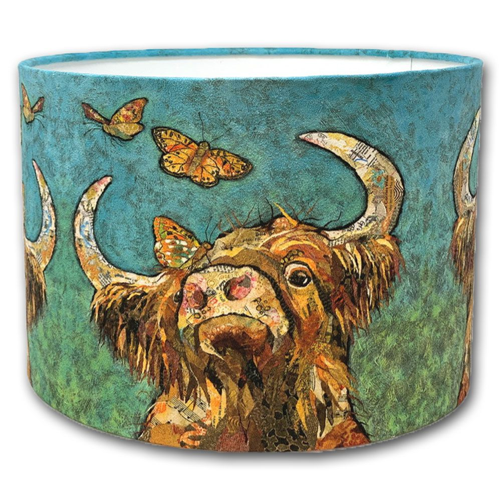 Highland Cow and Butterflies - Lampshade