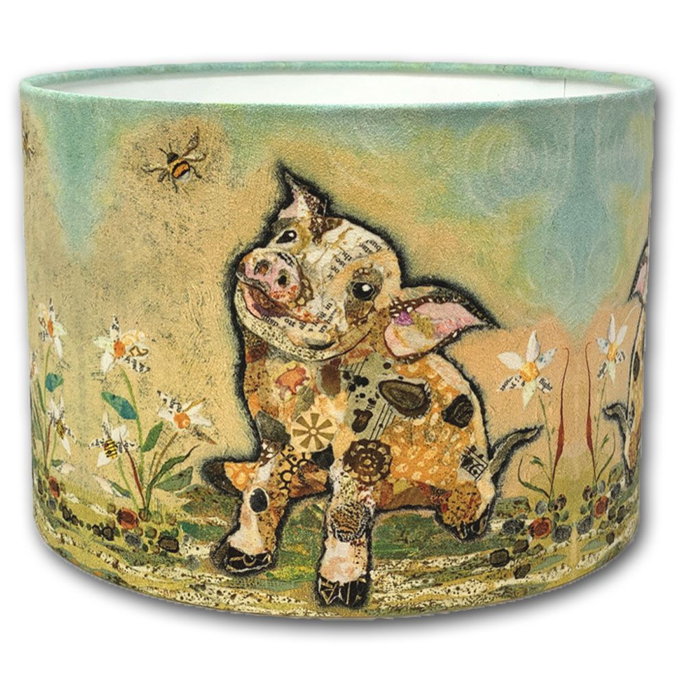 Pig and Bumble Bee  - Handmade Drum Lampshade
