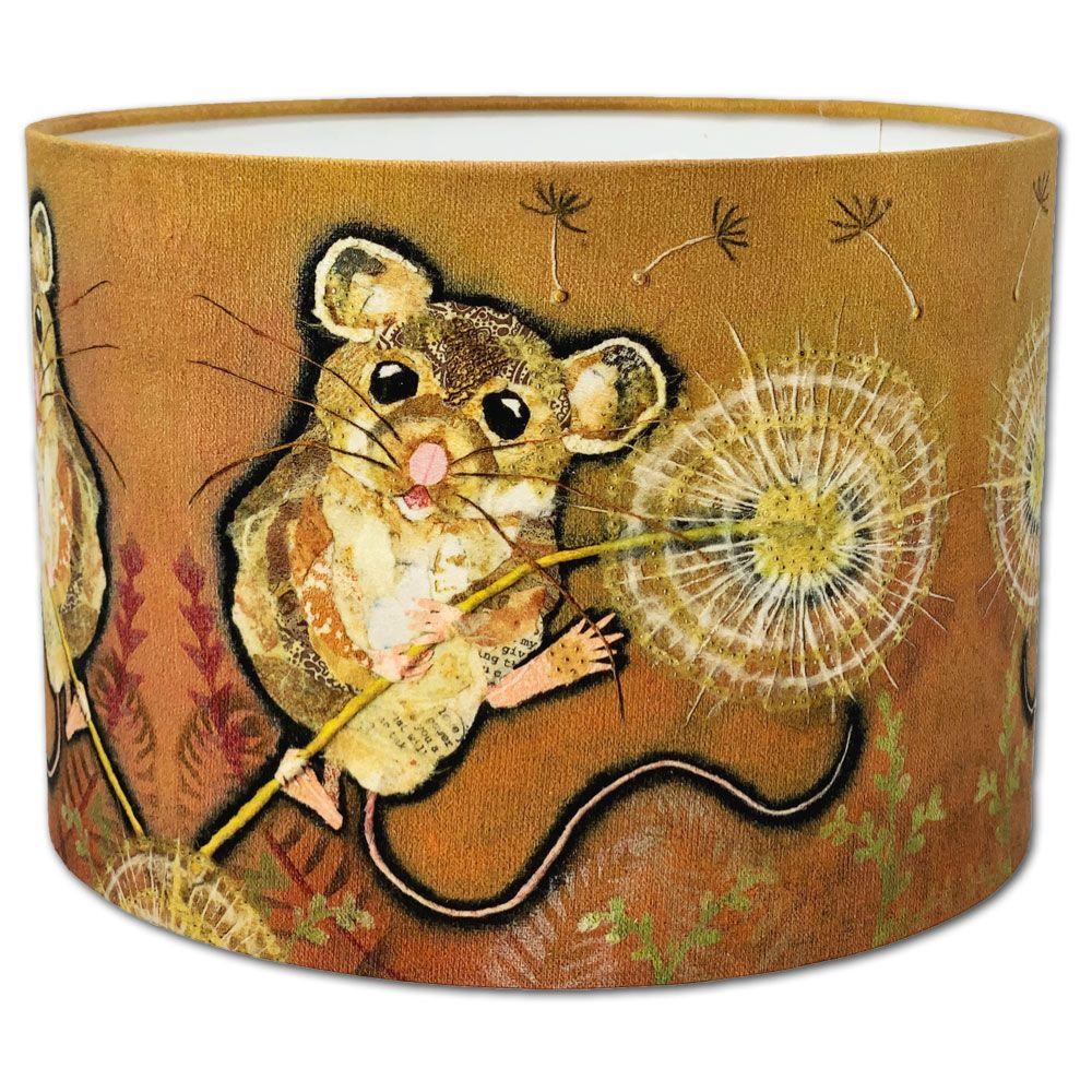 Mouse & Dandelion -Handmade Drum  Lampshade