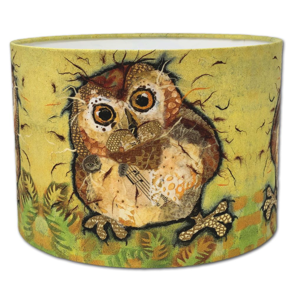 Frazzled Baby Owl - Drum Lampshade