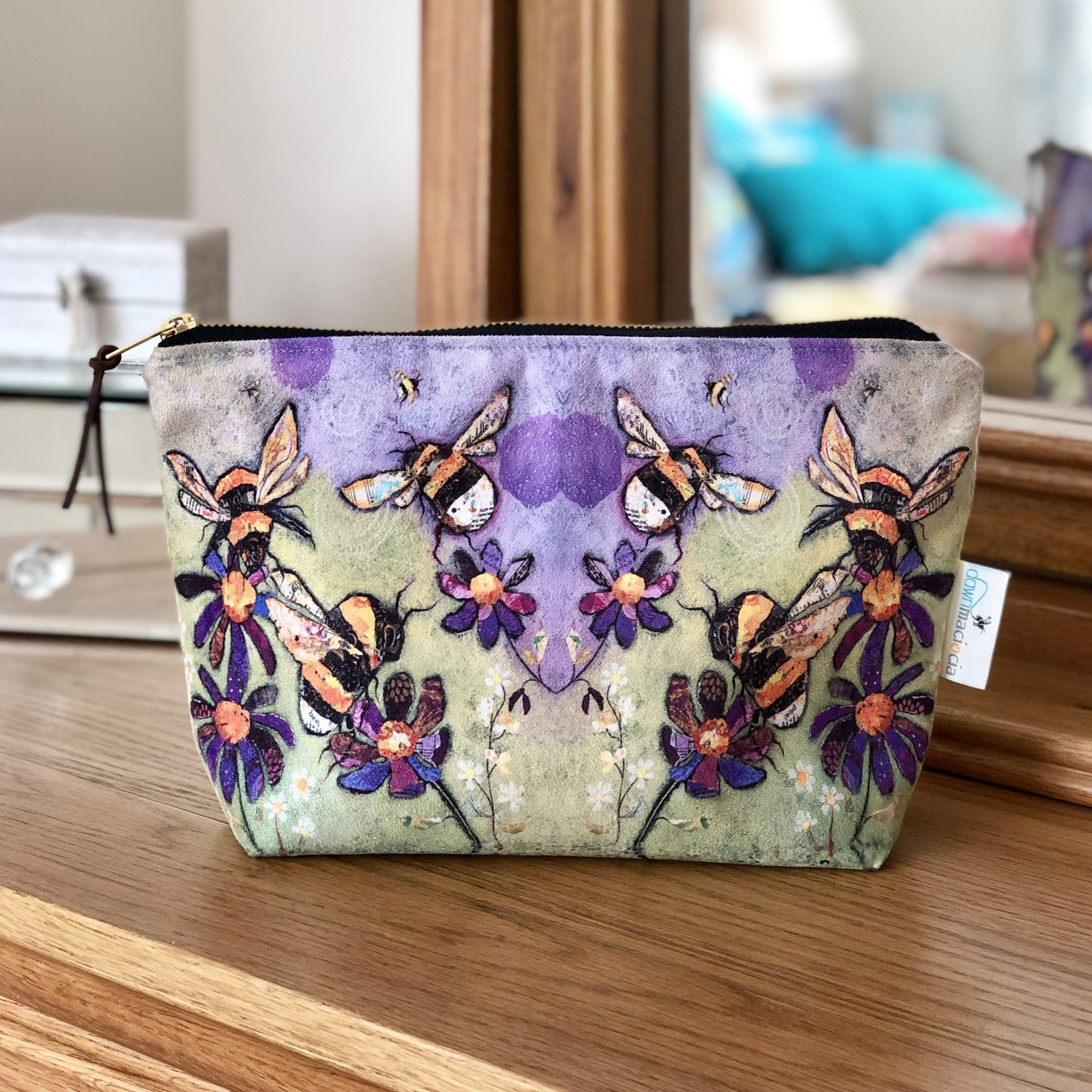 Bumble Bee Make-Up Bag Handmade in UK by Dawn Maciocia