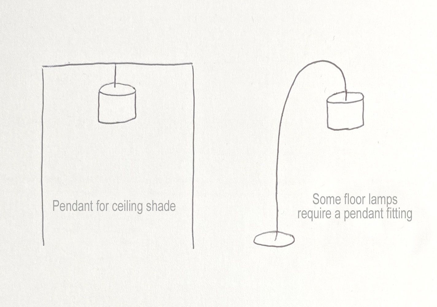 Pendant fitting for ceiling or standard lamp
